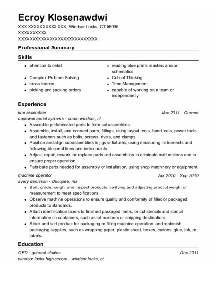 line assembler resume example Connecticut