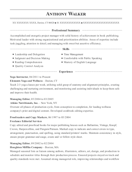 Self Employed Yoga Instructor Resume Sample