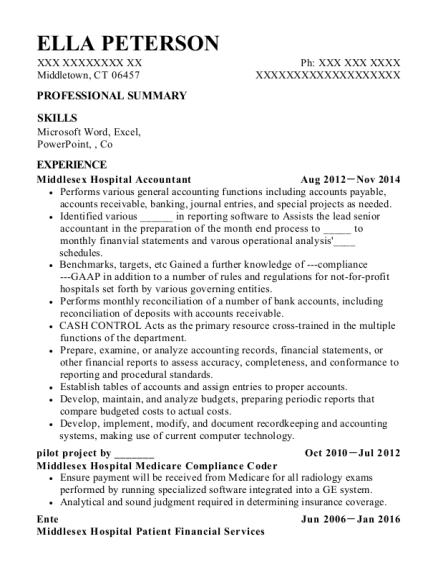 Middlesex Hospital Accountant resume template Connecticut
