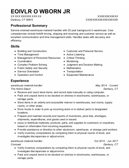 Warehouse Material Handler resume format Connecticut