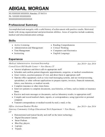 Medical Administrative Assistant resume format Connecticut