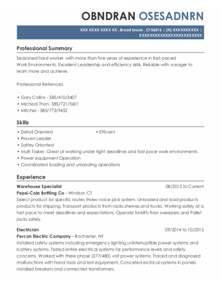 Warehouse Specialist resume example Connecticut