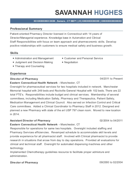 Director of Pharmacy resume example Connecticut
