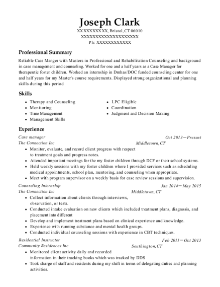Case Manager resume example Connecticut