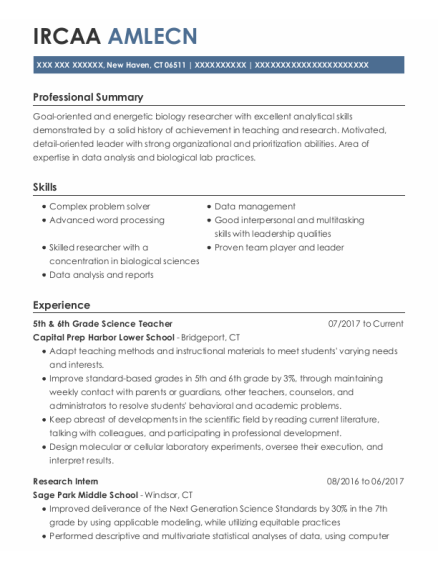Research Intern resume sample Connecticut