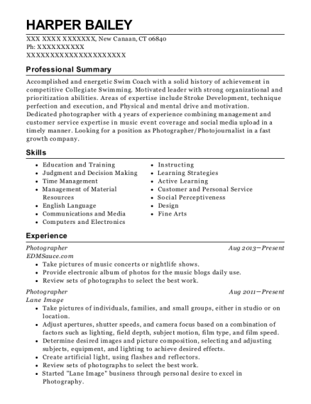 Photographer resume example Connecticut