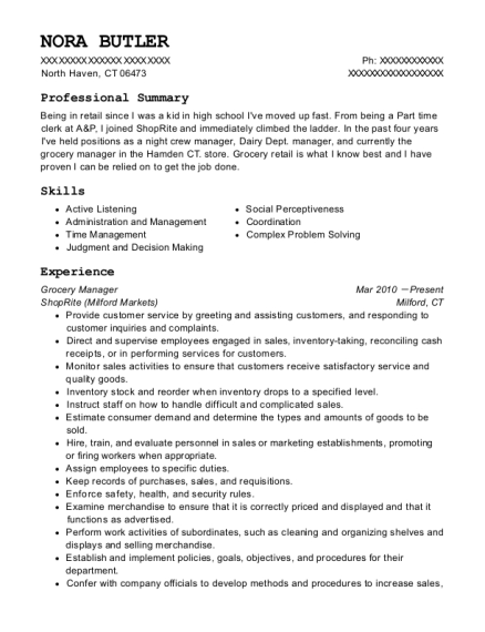 Grocery Manager resume example Connecticut