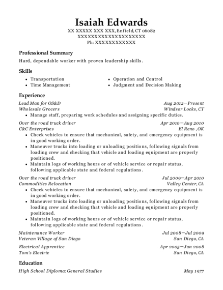 Lead Man for OS&D resume template Connecticut