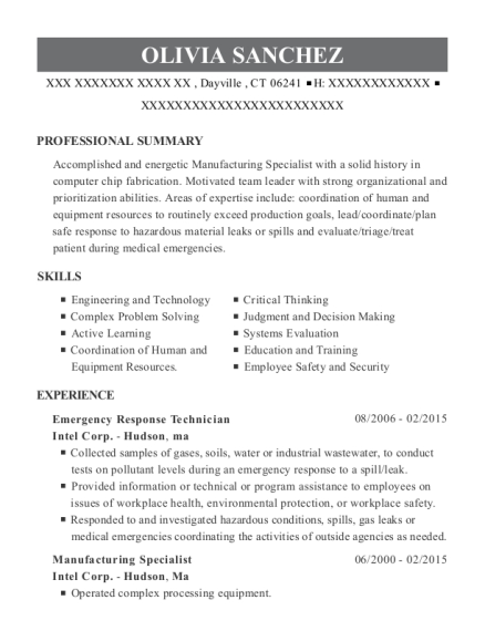Emergency Response Technician resume example Connecticut