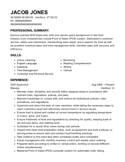 Shift Supervisor resume template Connecticut