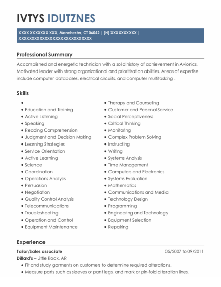 Tailor resume example Connecticut