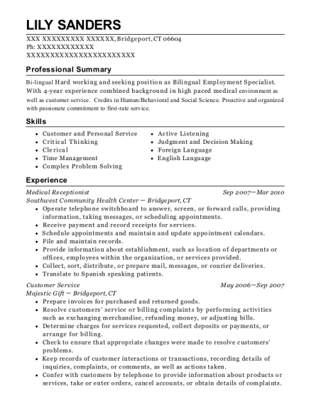 Medical Receptionist resume example Connecticut