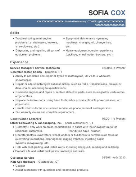 Service Manager resume format Connecticut