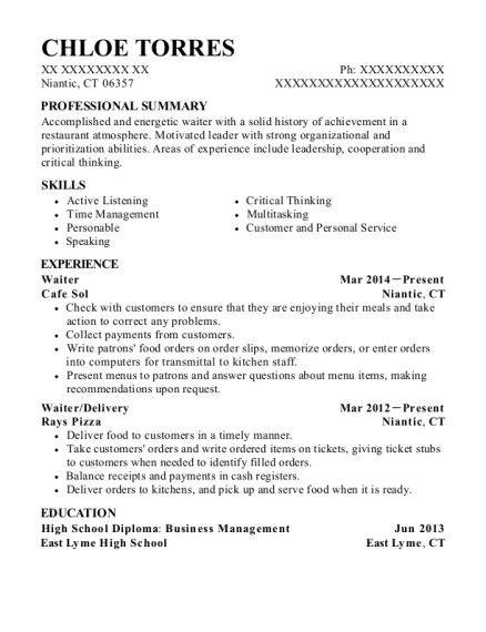 Waiter resume template Connecticut