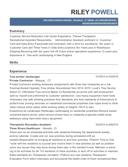 Tree worker resume format Connecticut