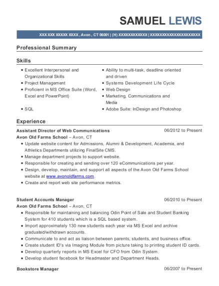 Assistant Director of Web Communications resume format Connecticut