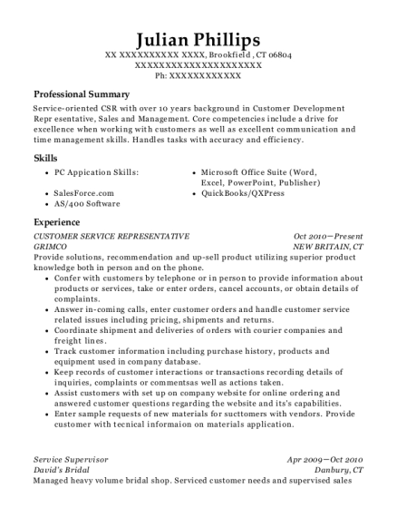 Customer Service Representative resume template Connecticut