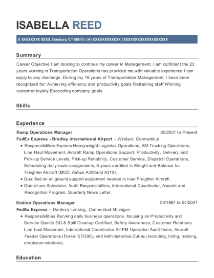 Ramp Operations Manager resume example Connecticut