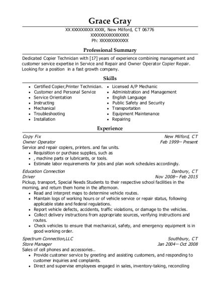 Owner Operator resume sample Connecticut