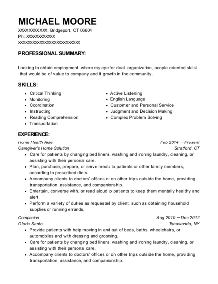 Home Health Aide resume template Connecticut