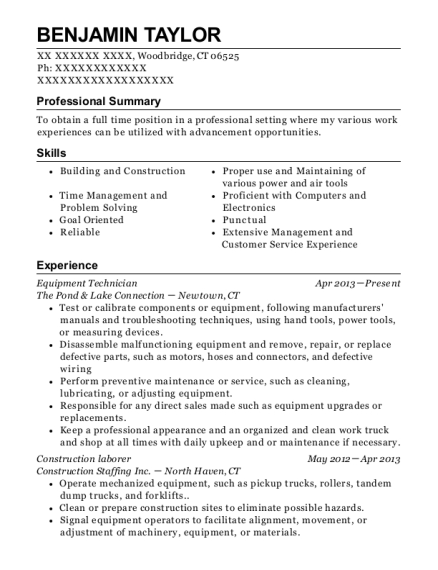 Equipment Technician resume example Connecticut