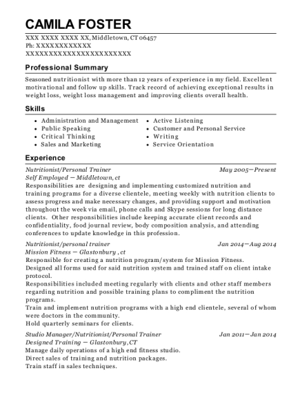 Nutritionist resume format Connecticut