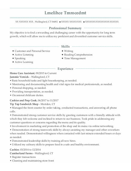 Home Care Assistant resume sample Connecticut