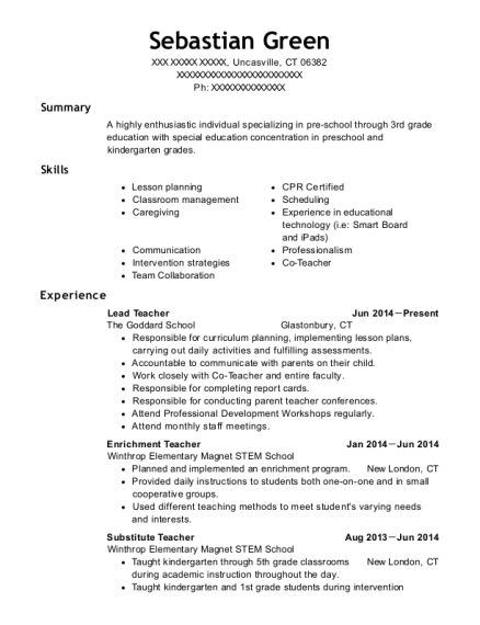 Lead Teacher resume format Connecticut