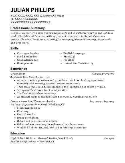 Groundman resume sample Connecticut
