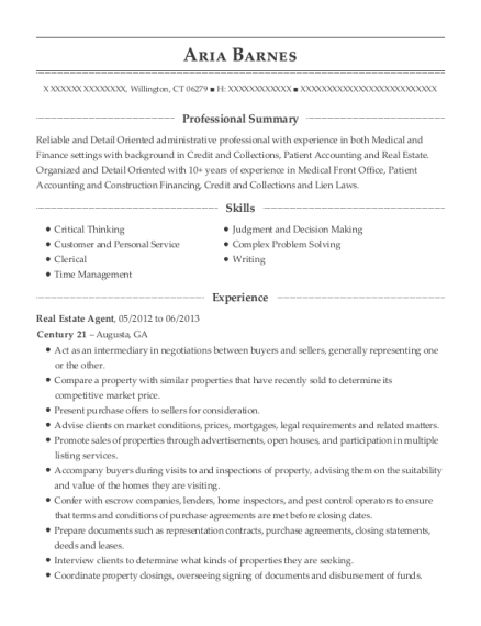 Real Estate Agent resume example Connecticut
