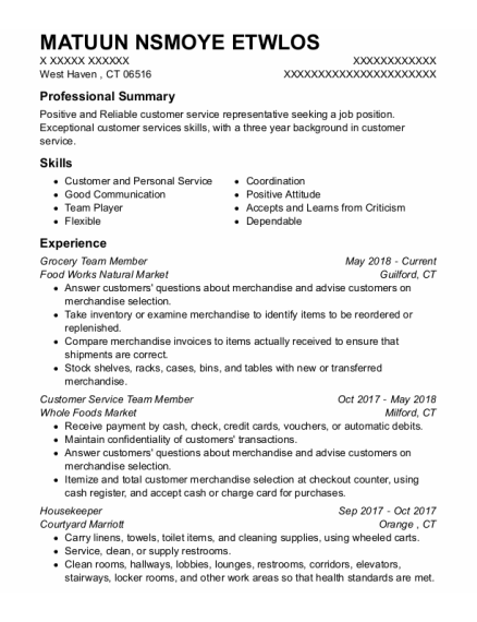Grocery Team Member resume template Connecticut
