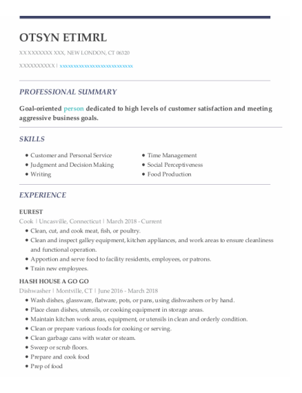 Cook resume template Connecticut