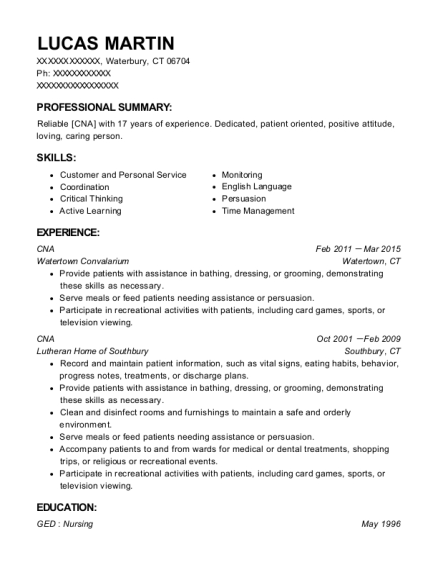 CNA resume template Connecticut