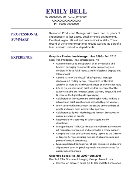 Graphics Production Manager resume example Connecticut