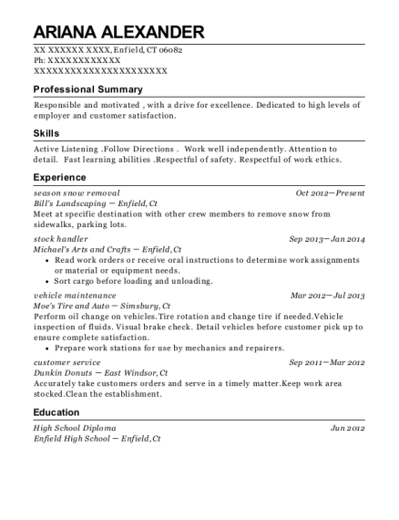 season snow removal resume sample Connecticut