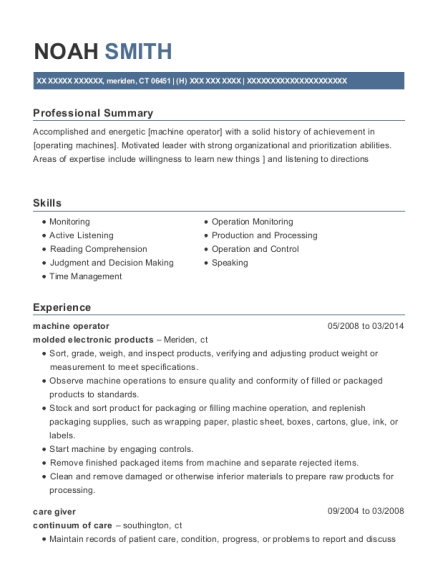 machine operator resume template Connecticut