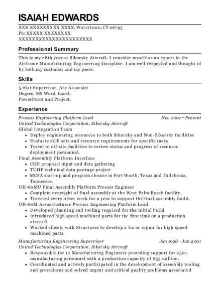 Process Engineering Platform Lead resume format Connecticut