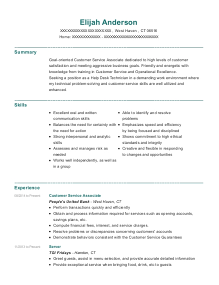 Customer Service Associate resume sample Connecticut