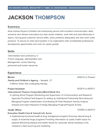 Mentor resume example Connecticut