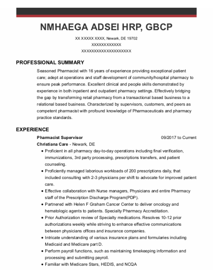 Pharmacist in charge resume sample Delaware