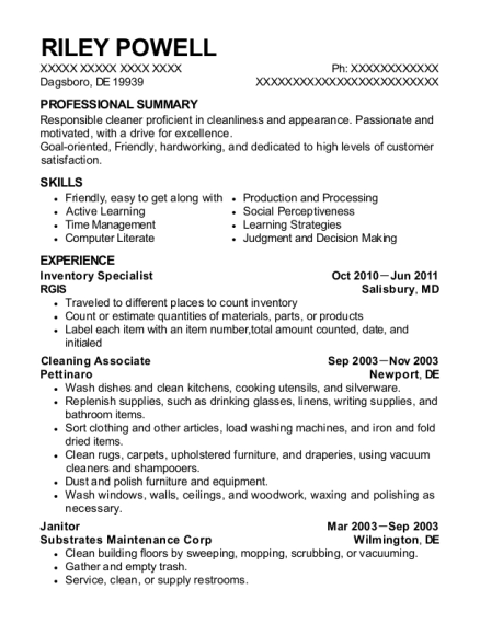 Inventory Specialist resume template Delaware