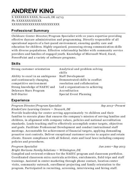 Program Director resume template Delaware