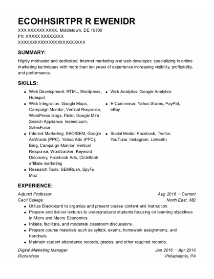 Digital Marketing Manager resume sample Delaware