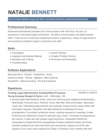 Floating Legal Administrative Assistant resume sample Delaware