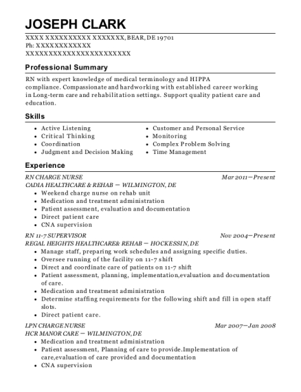 RN CHARGE NURSE resume example Delaware