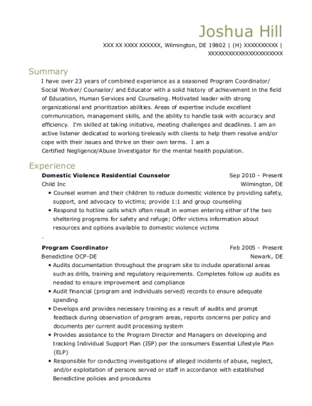 Domestic Violence Residential Counselor resume example Delaware