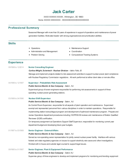 Senior Consulting Engineer resume sample Delaware
