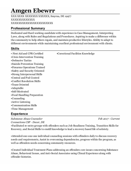 Substance Abuse Counselor resume sample Delaware