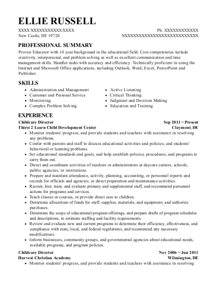 Childcare Director resume example Delaware