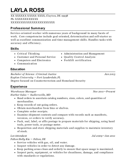 Warehouse Manager resume sample Delaware